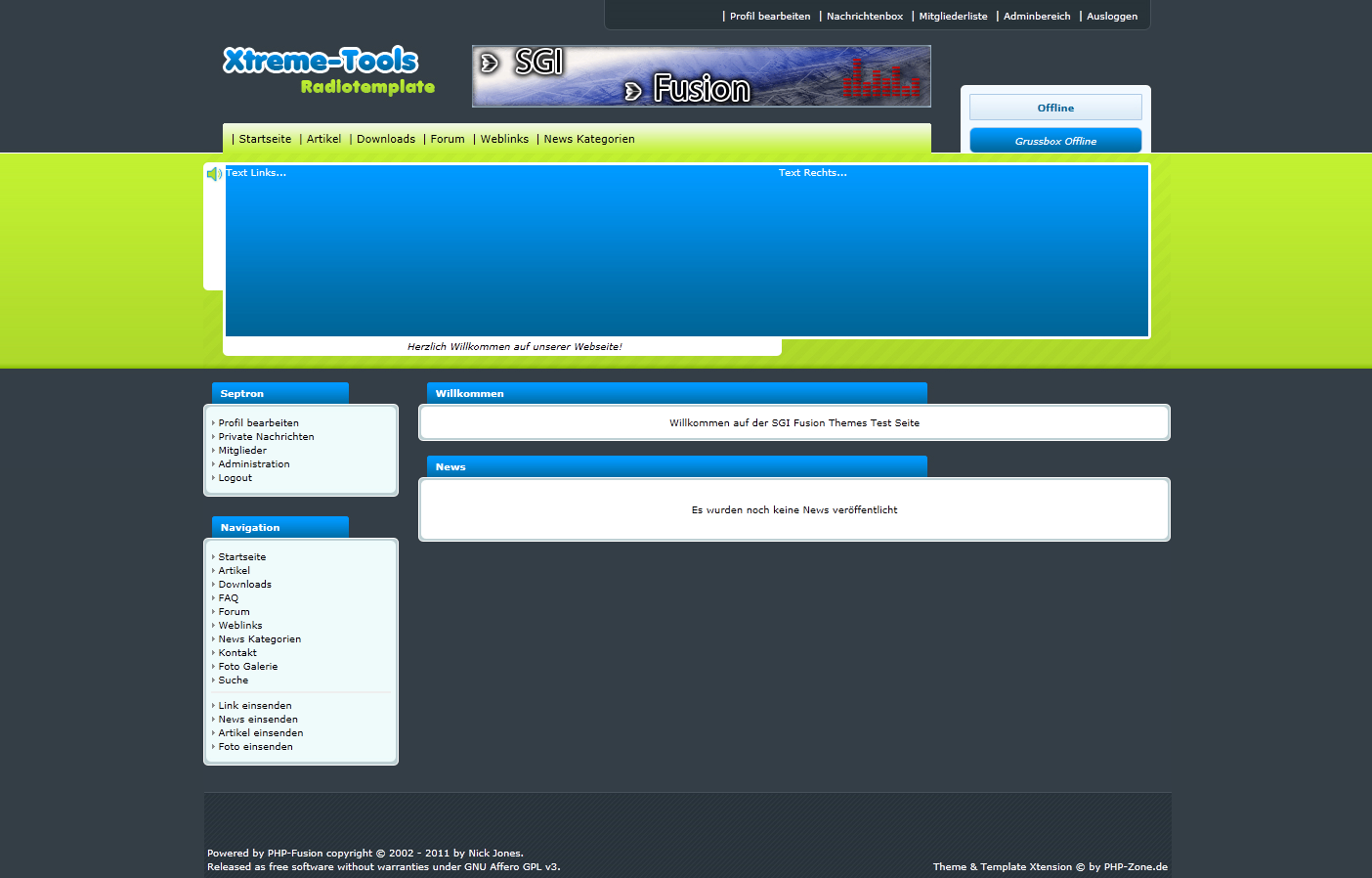 Screenshot PHP Zone Template Webradio