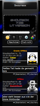 Screenshot Shoutbox Panel mit Avatar v7.02 LT Version (v7.02.xx)
